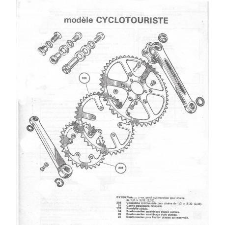 Couronne Cyclotouriste (208) pour pédalier Cyclotouriste